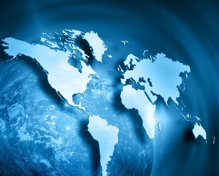 46262573 - world map on a technological background
